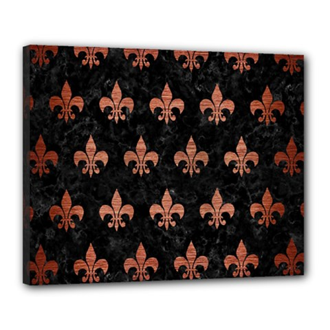 Royal1 Black Marble & Copper Brushed Metal (r) Canvas 20  X 16  (stretched) by trendistuff