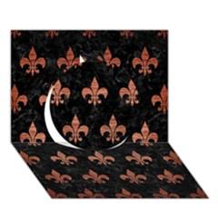 Royal1 Black Marble & Copper Brushed Metal (r) Circle 3d Greeting Card (7x5) by trendistuff
