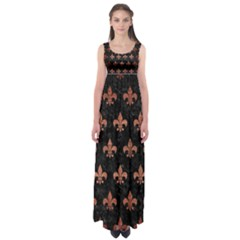 Royal1 Black Marble & Copper Brushed Metal (r) Empire Waist Maxi Dress by trendistuff