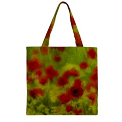 Poppy Iii Zipper Grocery Tote Bag by colorfulartwork