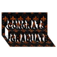 Royal1 Black Marble & Brown Burl Wood (r) Congrats Graduate 3d Greeting Card (8x4)