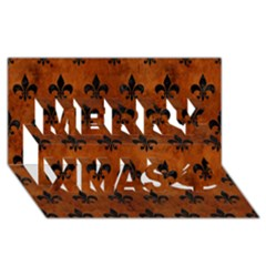 Royal1 Black Marble & Brown Burl Wood Merry Xmas 3d Greeting Card (8x4) by trendistuff