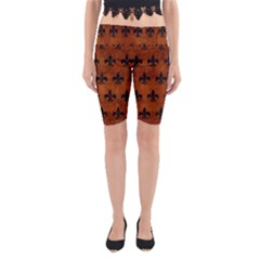 Royal1 Black Marble & Brown Burl Wood Yoga Cropped Leggings