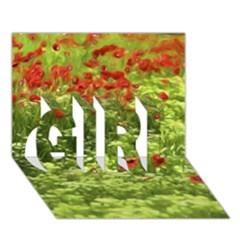 Poppy V Girl 3d Greeting Card (7x5)