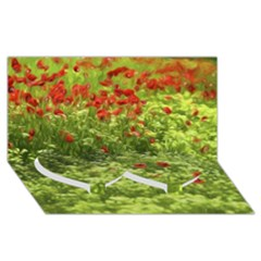 Poppy V Twin Heart Bottom 3d Greeting Card (8x4)  by colorfulartwork
