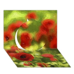 Poppy VI Circle 3D Greeting Card (7x5)  by colorfulartwork