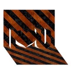 Stripes3 Black Marble & Brown Burl Wood (r) I Love You 3d Greeting Card (7x5) by trendistuff