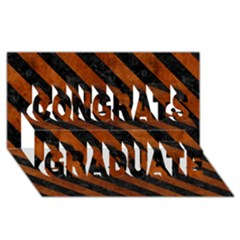 Stripes3 Black Marble & Brown Burl Wood (r) Congrats Graduate 3d Greeting Card (8x4)