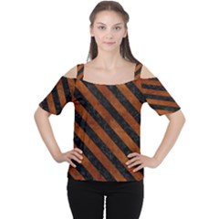 Stripes3 Black Marble & Brown Burl Wood (r) Cutout Shoulder Tee by trendistuff