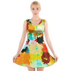 Lov1 V Neck Sleeveless Skater Dress by BIBILOVER