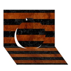Stripes2 Black Marble & Brown Burl Wood Circle 3d Greeting Card (7x5)