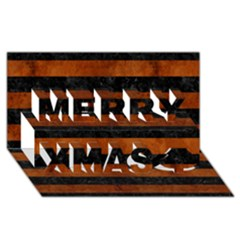 Stripes2 Black Marble & Brown Burl Wood Merry Xmas 3d Greeting Card (8x4)