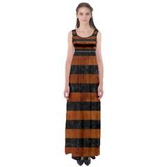 Stripes2 Black Marble & Brown Burl Wood Empire Waist Maxi Dress by trendistuff