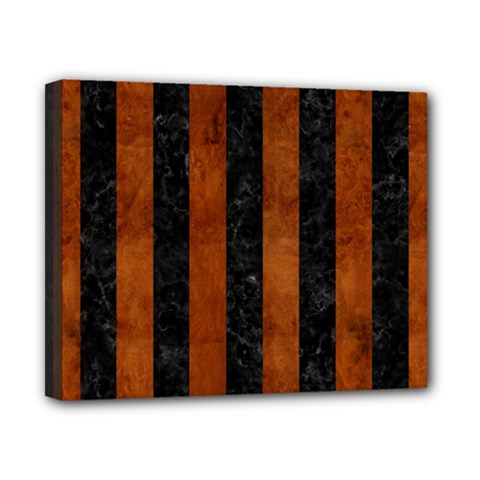 Stripes1 Black Marble & Brown Burl Wood Canvas 10  X 8  (stretched) by trendistuff