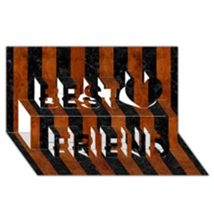 Stripes1 Black Marble & Brown Burl Wood Best Friends 3d Greeting Card (8x4)
