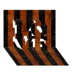 Stripes1 Black Marble & Brown Burl Wood Love 3d Greeting Card (7x5)