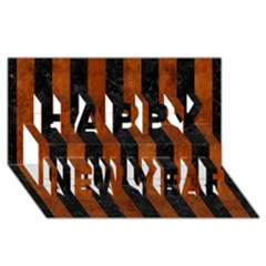 Stripes1 Black Marble & Brown Burl Wood Happy New Year 3d Greeting Card (8x4)
