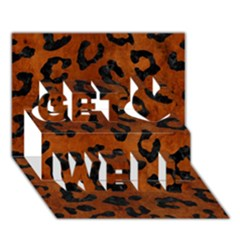Skin5 Black Marble & Brown Burl Wood Get Well 3d Greeting Card (7x5)