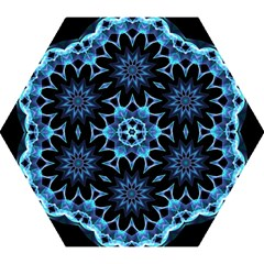 Crystal Star, Abstract Glowing Blue Mandala Mini Folding Umbrellas by DianeClancy