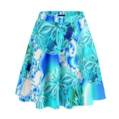Blue Ice Crystals, Abstract Aqua Azure Cyan High Waist Skirt by DianeClancy