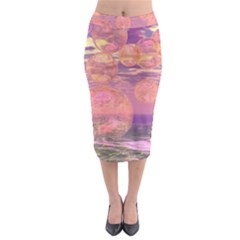 Glorious Skies, Abstract Pink And Yellow Dream Midi Pencil Skirt by DianeClancy