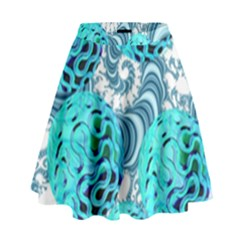 Teal Sea Forest, Abstract Underwater Ocean High Waist Skirt by DianeClancy