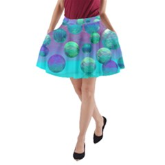 Ocean Dreams, Abstract Aqua Violet Ocean Fantasy A Line Pocket Skirt by DianeClancy