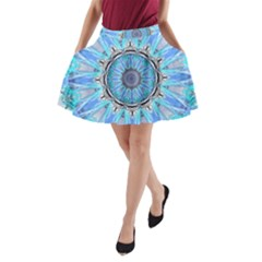 Sapphire Ice Flame, Light Bright Crystal Wheel A Line Pocket Skirt by DianeClancy