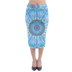 Sapphire Ice Flame, Light Bright Crystal Wheel Midi Pencil Skirt by DianeClancy