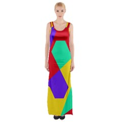Colorful Misc Shapes                                                  Maxi Thigh Split Dress by LalyLauraFLM