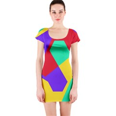 Colorful Misc Shapes                                                  Short Sleeve Bodycon Dress by LalyLauraFLM