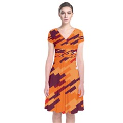 Brown orange shapes                   Short Sleeve Front Wrap Dress by LalyLauraFLM