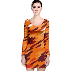 Brown orange shapes                                                    Long Sleeve Velvet Bodycon Dress