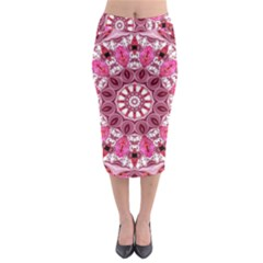 Twirling Pink, Abstract Candy Lace Jewels Mandala  Midi Pencil Skirt