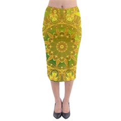 Yellow Green Abstract Wheel Of Fire Midi Pencil Skirt by DianeClancy