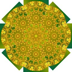 Yellow Green Abstract Wheel Of Fire Straight Umbrellas by DianeClancy