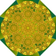 Yellow Green Abstract Wheel Of Fire Golf Umbrellas by DianeClancy