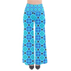 Vibrant Modern Abstract Lattice Aqua Blue Quilt Women s Chic Palazzo Pants by DianeClancy