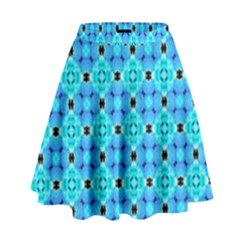 Vibrant Modern Abstract Lattice Aqua Blue Quilt High Waist Skirt by DianeClancy