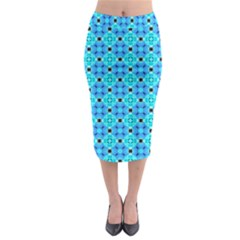 Vibrant Modern Abstract Lattice Aqua Blue Quilt Midi Pencil Skirt by DianeClancy
