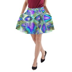 Abstract Peacock Celebration, Golden Violet Teal A Line Pocket Skirt by DianeClancy