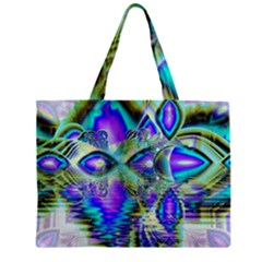 Abstract Peacock Celebration, Golden Violet Teal Zipper Mini Tote Bag by DianeClancy
