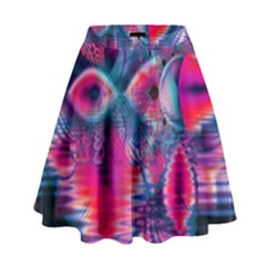 Cosmic Heart Of Fire, Abstract Crystal Palace High Waist Skirt by DianeClancy