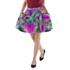 Crystal Flower Garden, Abstract Teal Violet A Line Pocket Skirt by DianeClancy