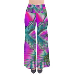Crystal Flower Garden, Abstract Teal Violet Women s Chic Palazzo Pants by DianeClancy