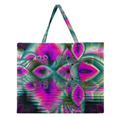Crystal Flower Garden, Abstract Teal Violet Zipper Large Tote Bag by DianeClancy