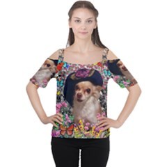 Chi Chi In Butterflies, Chihuahua Dog In Cute Hat Women s Cutout Shoulder Tee by DianeClancy