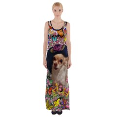 Chi Chi In Butterflies, Chihuahua Dog In Cute Hat Maxi Thigh Split Dress by DianeClancy