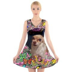 Chi Chi In Butterflies, Chihuahua Dog In Cute Hat V Neck Sleeveless Skater Dress