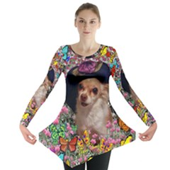 Chi Chi In Butterflies, Chihuahua Dog In Cute Hat Long Sleeve Tunic  by DianeClancy